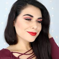 day makeup red glitter cut crease