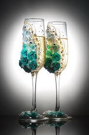 beautiful decorated wedding champagne