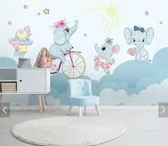 Lovely Bike Elephant Wall Mural Wallpaper For Kids Bedroom Home Wall Decor Wall Paper Rolls Contact Paper Papel De Parede Custom Wallpapers Aliexpress