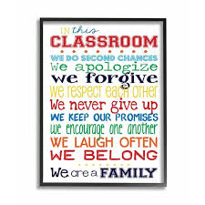 Shop The Kids Room By Stupell In This Classroom Rules Typography Art Black Framed 24 X 30 Proudly Made In Usa 24 X 30 Overstock 30334850