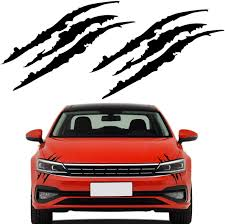 Amazon Com Senzeal 2pcs Claw Marks Decal Reflective Sticker Waterproof Headlight Decal Fit For Car Black Automotive