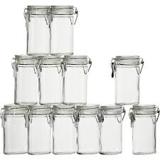 mini oval spice herb jars with clamp