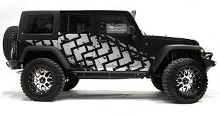 Amazon Com Factory Crafts Tire Tracks Side Graphics Kit 3m Vinyl Decal Wrap Compatible With Jeep Wrangler 4 Door 2007 2016 Silver Automotive