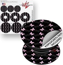 Amazon Com Decal Style Vinyl Skin Wrap 3 Pack For Popsockets Pastel Butterflies Pink On Black Popsocket Not Included By Wraptorskinz Everything Else
