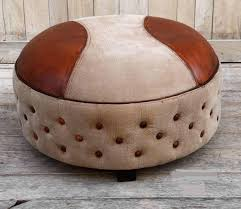 large leather canvas circular ottoman