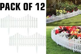 Pack Of 12 White Garden Picket Fence Panels Plastic Lawn Edging For Plant Borders And Flowerbeds 12 Amazon Co Uk Garden Outdoors