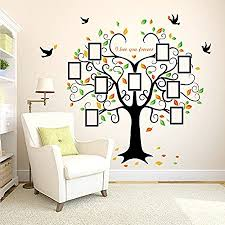 Amazon Com Large Family Tree Wall Decor Removable Tree Picture Frames Wall Decals Vinyl Tree Wall Stickers For Living Room Wall Decor Home Kitchen