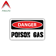 Aliauto Warning Car Sticker Danger Poison Gas Decal Accessories Pvc For Mercedes Volkswagen Renault Toyota Opel Seat Vw 12cm 6cm Car Stickers Aliexpress