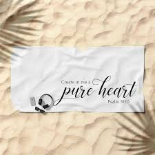 Psalm 51 10 Create In Me A Pure Heart Christian Bible Verse Beach Towel By Emmanuel Love Society6
