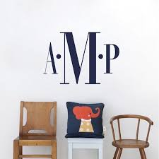 Bedroom Monogram Wall Decal Kids Room Custom Name Initials Personalized Names Bedroom Sticker Names Trendy Wall Designs