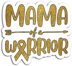Amazon Com Hand Wooden Customizable Sticker Golden Mama Of A Warrior Childhood Cancer Awareness Stickers For Personalize 3 Pcs Pack Home Kitchen
