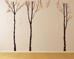 Large Birch Tree Wall Decal Set Of 3 Wall Decal Vinyl Tree Art Stickers