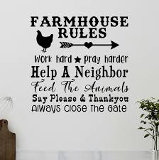 August Grove Farmhouse Rules Letters Words Home Chicken Wall Decals Wayfair