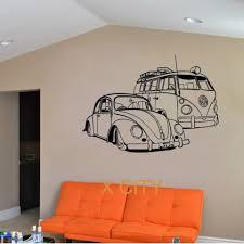 For Vw Camper Van And Vw Beatle Car Club Vinyl Wall Decal Art Decor Sticker Living Room Door Stencil Mural Decorative Stickers Vinyl Wallvinyl Wall Decals Aliexpress
