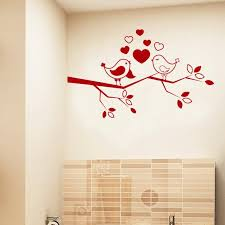 Shop Birds Love On Tree Branch Red Vinyl Sticker Wall Art Overstock 10409734