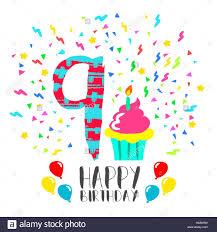 Feliz Cumpleanos Numero 9 Tarjeta De Felicitacion Para Nueve Anos En Diversion Con Estilo Arte Parte Confetti Y Pastel Invitacion De Aniversario Felicitaciones Imagen Vector De Stock Alamy