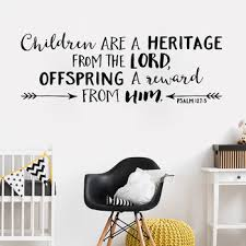 Bible Verse Wall Sticker Psalm 127 3 Children Are A Heritage From The Lord Nursery Wall Arrows Decor Vinyl Wall Decal Hot Lc759 Leather Bag