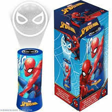 Boys Childrens Spiderman Projector Bedroom Bedside Lamps Night Light Red Ebay