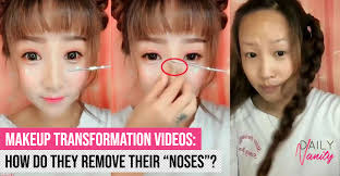 fake nose chinese women remove