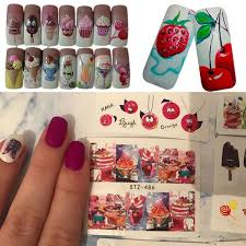 18pc Set Summer Ice Cream Cake Fruit Nail Art Water Transfer Sticker Manicure Decal Wish