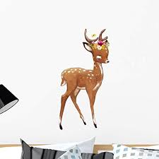 Amazon Com Wallmonkeys Cute Watercolor Summer Deer Wall Decal Peel And Stick Animal Graphics 24 In H X 19 In W Wm502774 Home Kitchen