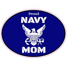 Proud Navy Mom Oval Sticker U S Custom Stickers