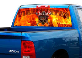 Product Firefighter Fire Flame Rear Window Decal Sticker Pickup Truck Suv Car