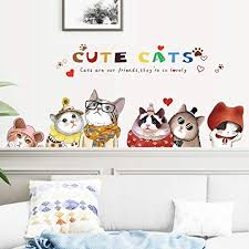 Amazon Com Mikey Store Home Kids Room Christmas Decorations Cute Cats Cartoon Cat Wall Sticker Bedroom Study Background Wall Sticker Cat Baby