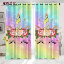 Gridilango Cartoon Blingbling Unicorn Curtain For Kid Bedroom Living Room With Girly Floral Rainbow Curtain Home Decoration 1pcs Curtains Aliexpress