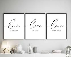 Love Is Kind Love Never Fails Bible Verse Art Set Of 3 Etsy