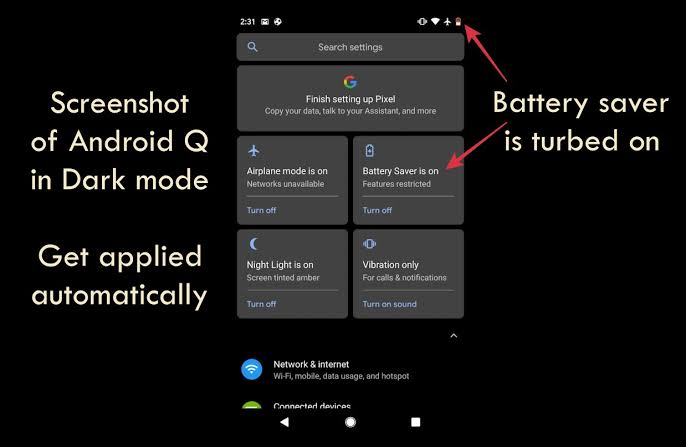 Image result for battery saver mode in dark mode""