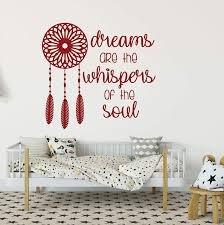 Dreams Whispers Of The Soul Dreamcatcher Silhouette Vinyl Wall Decal Customvinyldecor Com