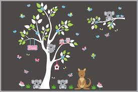 Cute Jungle And Safari Animal Scene Nursery Decals White Tree Nurserydecals4you