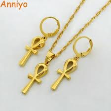 anniyo ankh pendant chain earrings gold