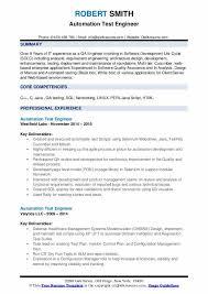 automation test engineer resume sles