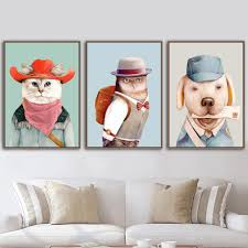 2020 Cartoon Cowboy Cat Owl School Bag Postman Dog Nordic Posters And Prints Wall Art Canvas Painting Wall Pictures Kids Room Decor From Goodcomfortable 3 95 Dhgate Com
