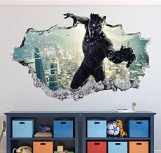 Amazon Com Black Panther Wall Decal Art Decor 3d Smashed Sticker Mural Kids Gift Poster Large Ha05 40 W X 24 H Home Kitchen