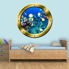 Vwaq Coral Reef Fish View Porthole Peel And Stick Vinyl Wall Decal G