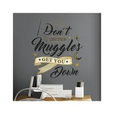 Roommates 5 In X 19 In Harry Potter Muggles Quote 6 Piece Peel And Stick Giant Wall Decals Rmk3608gm The Home Depot