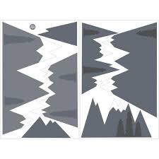 Wall Pops 48 In X 36 In Grey Mountain Range Wall Art Kit Wpk2457 The Home Depot
