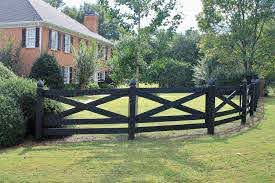 Black Painted Split Rail X Slipfence Horizontal Post And Vertical Wood Fence In 2020 Fence Design Wood Fence Design Wood Fence Gates