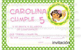 Descarga Tarjetas De Invitacion A Cumpleanos De Dora La