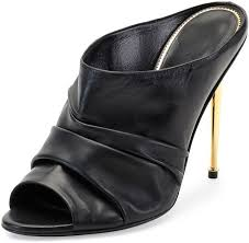 ruched leather high heel mule black