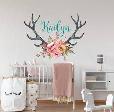Personalized Vinyl Wall Decal Girls Name Sticker Deer Antler Etsy