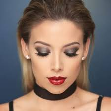 eye makeup for red dress red lips
