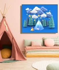 Cassisy Canvas Painting Jungle Camping Campfire Three Dimensional Poster Picture Wall Decor Modern Home Decoration For Kids Room Nana S Corner Beauty Cosmetic