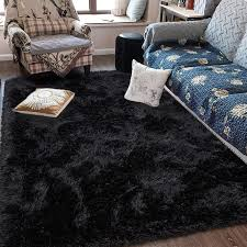 Amazon Com Fluffy Soft Kids Room Rug Baby Nursery Decor Anti Skid Large Fuzzy Shag Fur Area Rugs Modern Indoor Home Living Room Floor Carpet For Children Boys Girls Bedroom Rugs Black 4 X