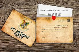 10 X Invitaciones Para Fiesta De Cumpleanos De Harry Potter Con 10