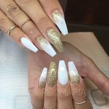 white acrylic nails coffin with glitter