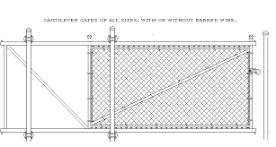 Cantilever Gate Chain Link Fence Slide Gate Welded With Cantilever Rollers Fence Material